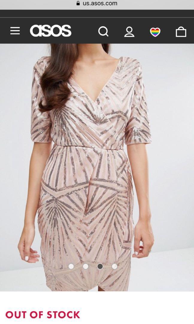 Brand new ASOS rose gold sequin wrap dress (UK size 6 / US size 2)