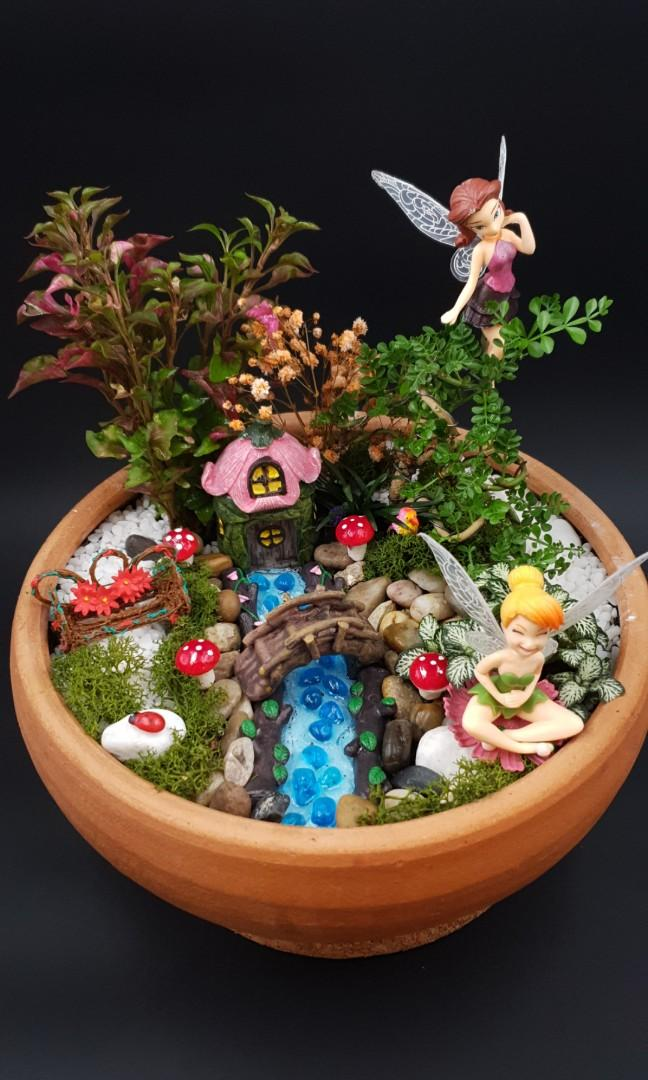 🧚♂️🧚♀️🌻Handcrafted Tabletop Miniature Mystical Fairy Garden F🧚♂️🧚♀️