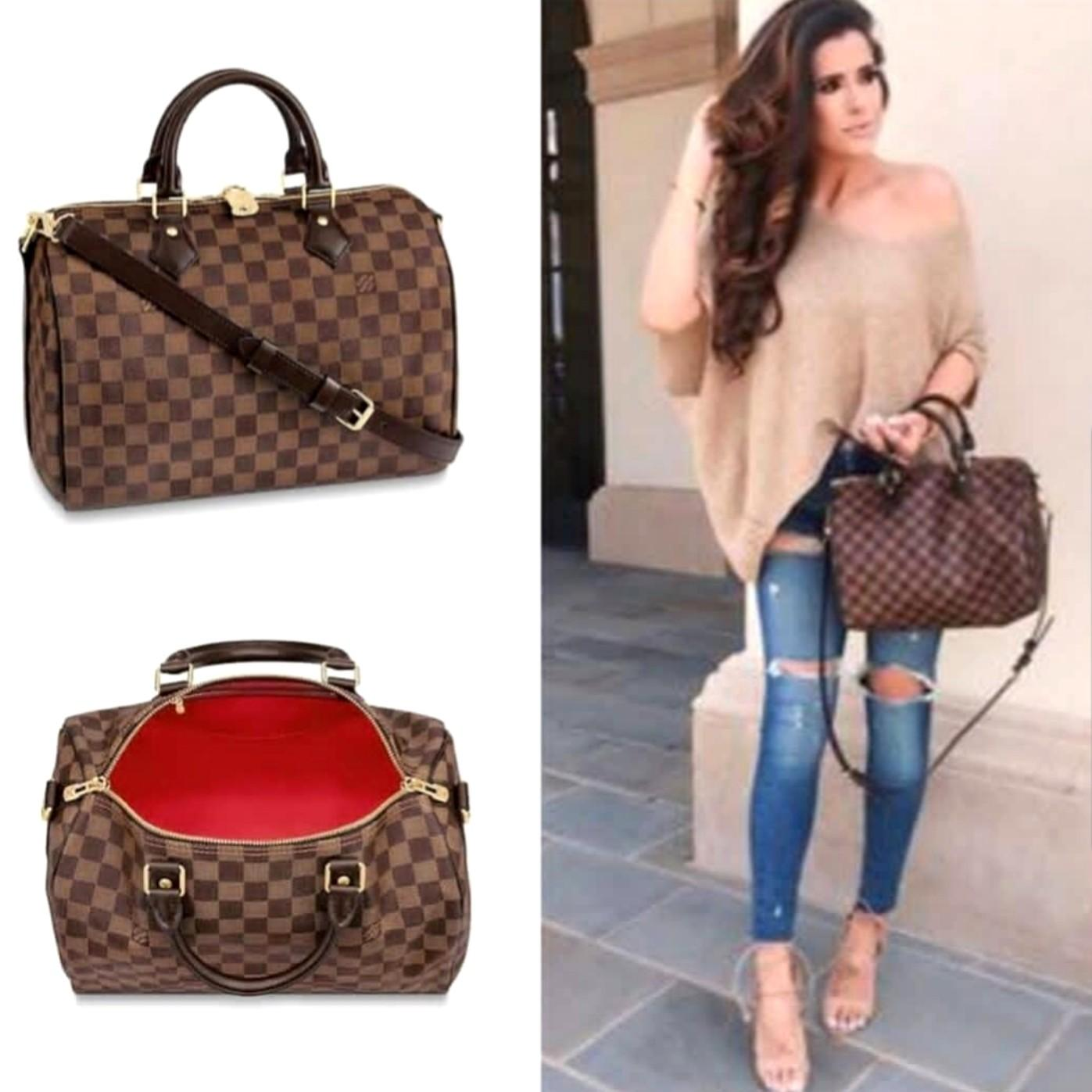 Louis Vuitton Speedy Bandoliere Damier 30 LV Hand Bag Ori Leather