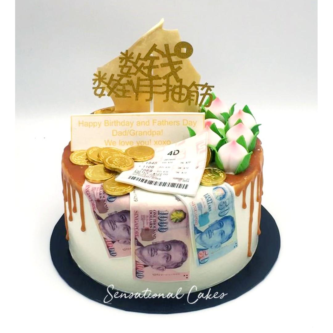 Money pulling cake , Huat cake , Fortune prosperity 4D ToTo Cake cake Money  cake coin, edible lottery sugar prosperity 3d customized cake