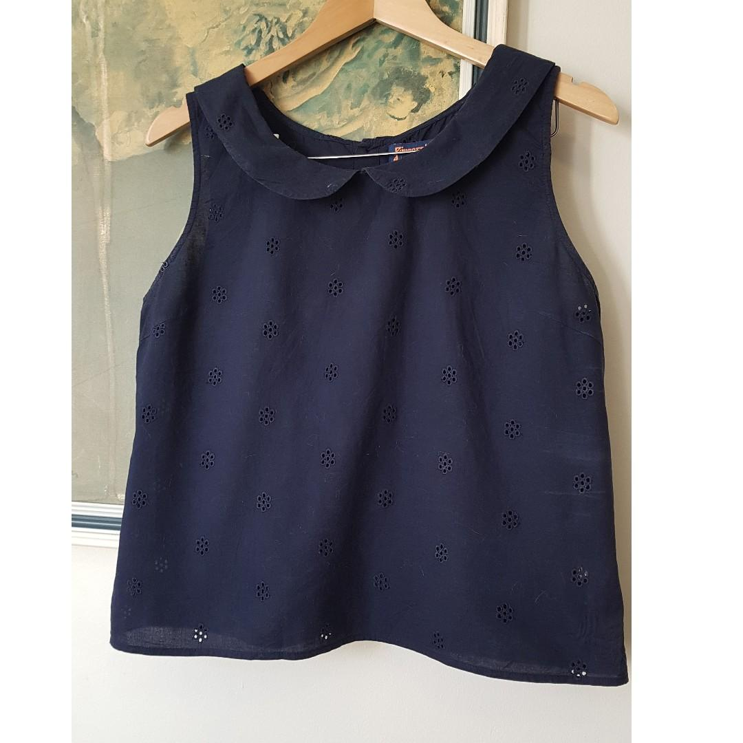 Peter Pan Collared Navy Blue Blouse with Floral Cut out Pattern