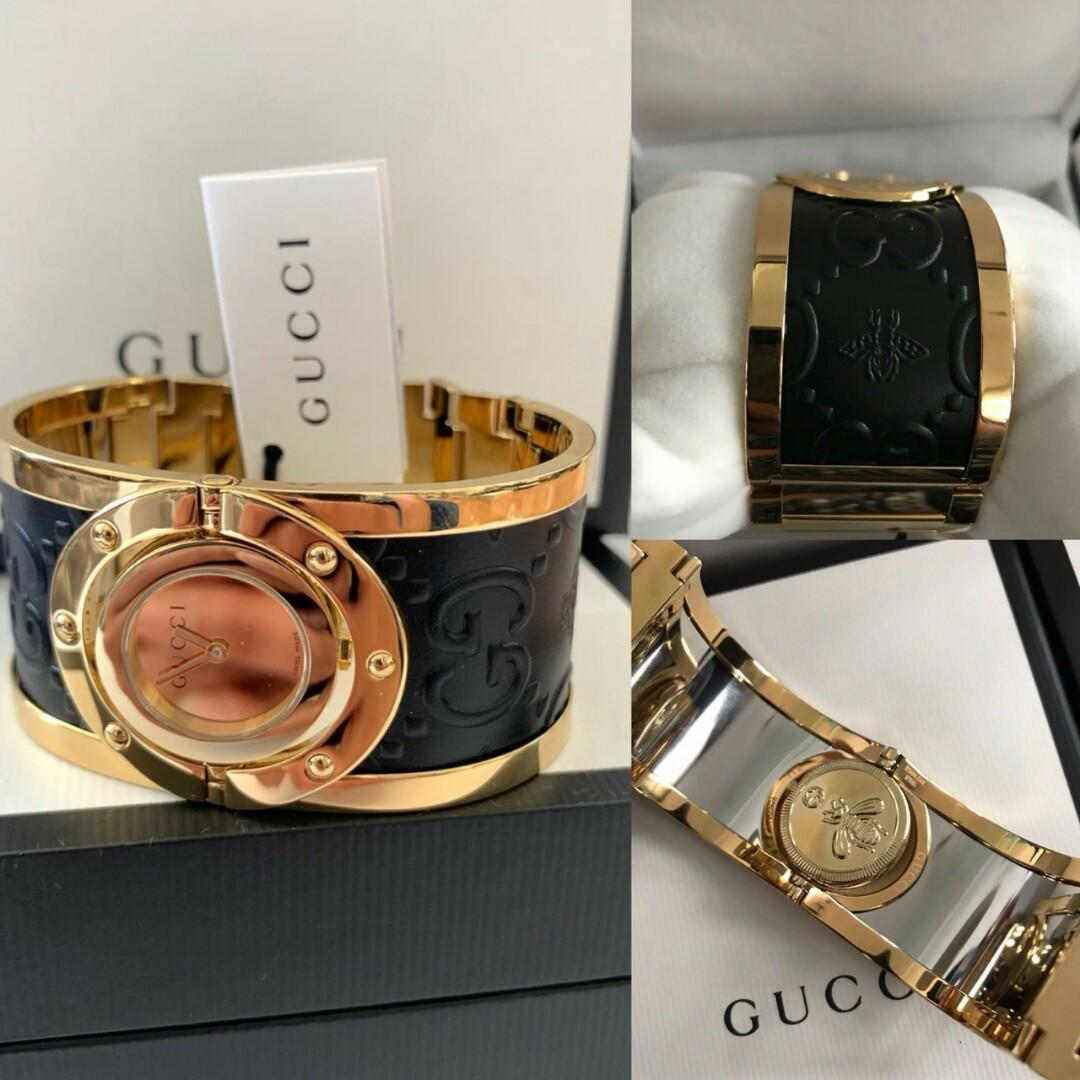 Ready Gucci YA112444 twirl bangle leather gold 33mm case New Season