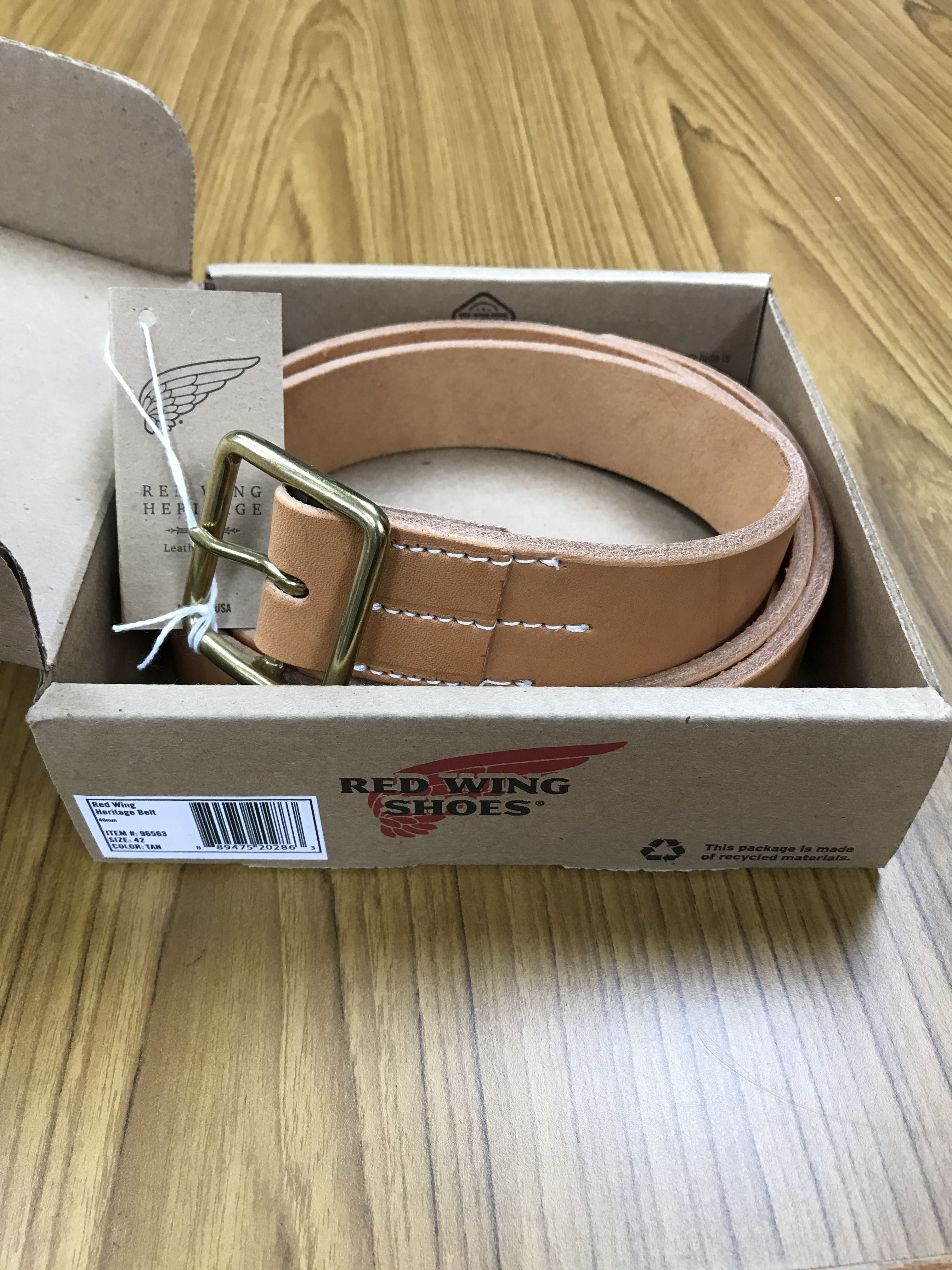b54ce4f76fb Red Wing Heritage Belt 40mm Natural Tan Size 42 {item no 96563}