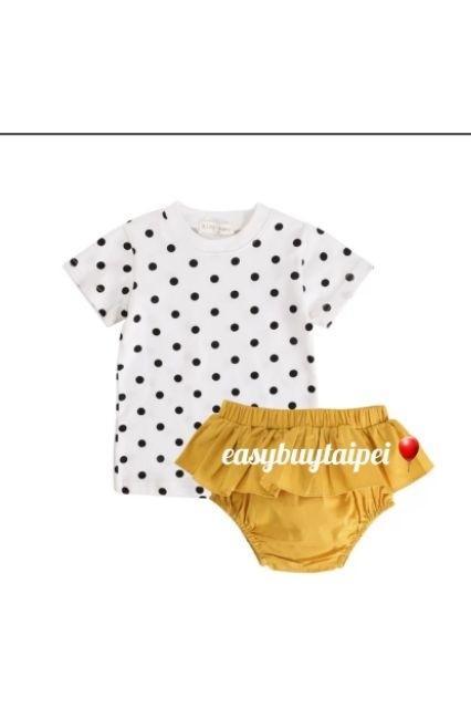 嬰幼童夏装可愛黃白配波點短袖T恤面包褲兩件套女寶寶洋氣經典小圓點點夏季套装INS爆款兩件套舒適百搭簡單有型眾人矚目焦點