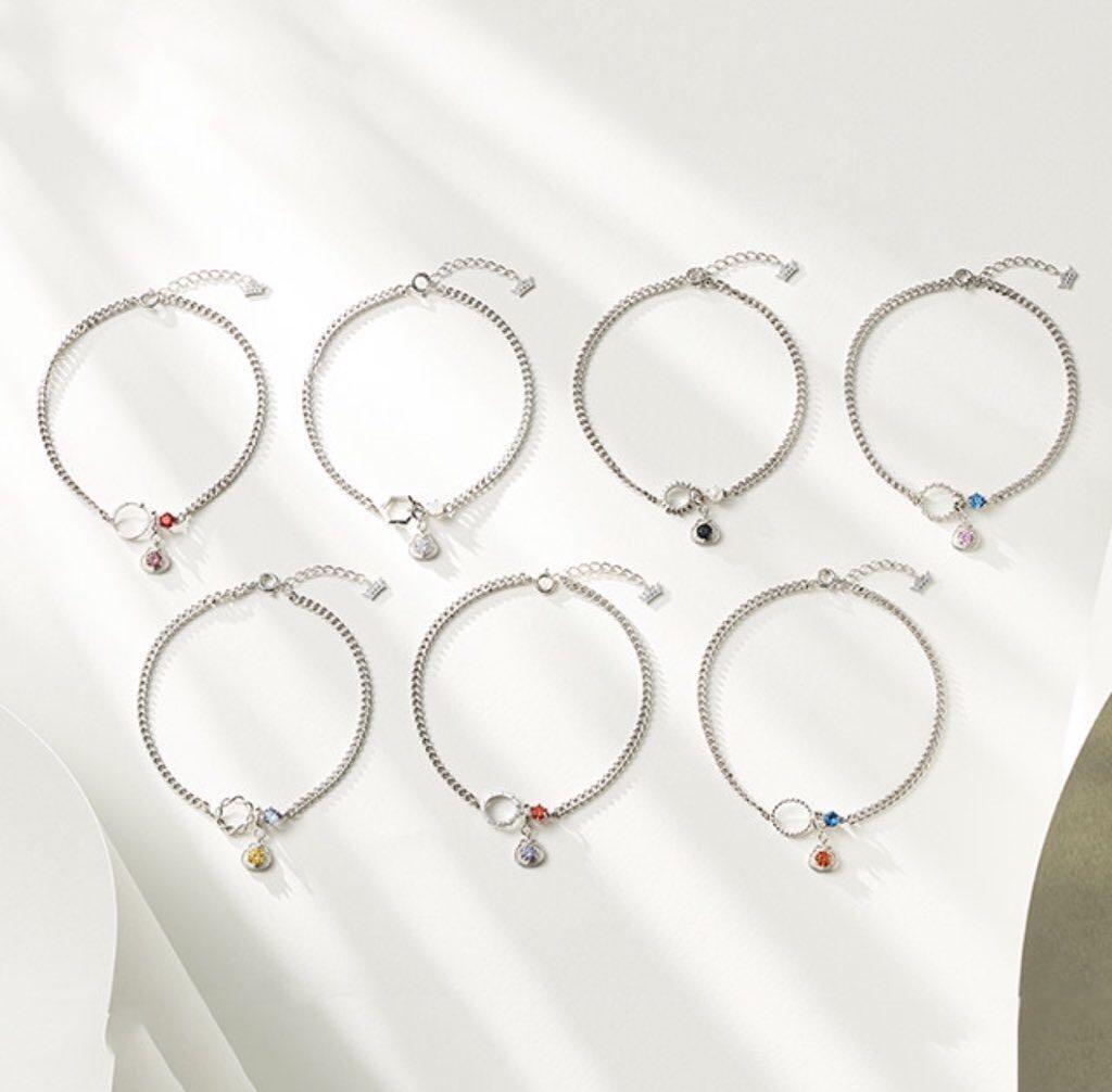 TWOTUCKGOM x MONSTA X Birthstone Bracelet & Earrings (Silver)