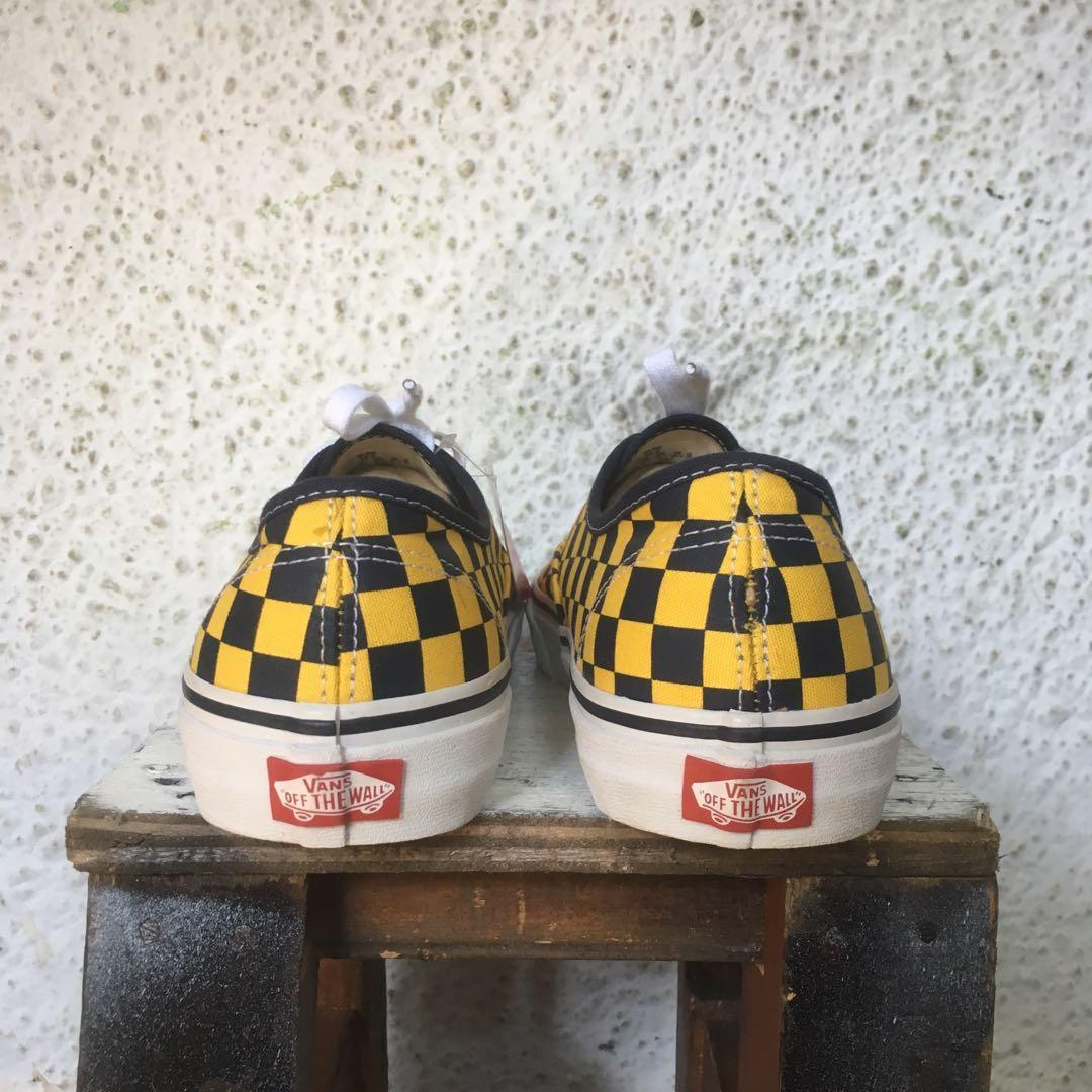 Vans authentic checkerboard dress blue yellow not slip on
