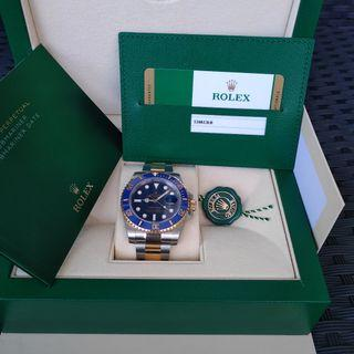 NEW 2019 (Warranty till 2024) ROLEX SUBMARINER Half Gold Ceramic 116613LB -Blue