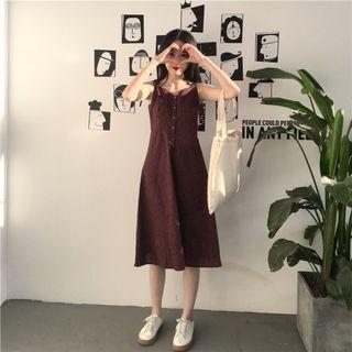 {免運}格子洋裝無袖細肩帶吊帶細肩帶洋裝 連身裙子 連衣裙子 長裙 可愛 洋裝 日系韓系顯瘦洋裝
