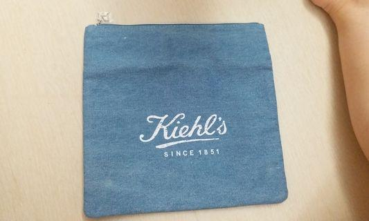 【包郵】Kiehl's 牛仔布四方型拉鍊袋  Cotton Jean Storage Bag