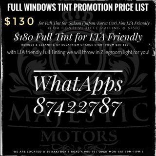 Full window TinT + free 2 legroom Light!