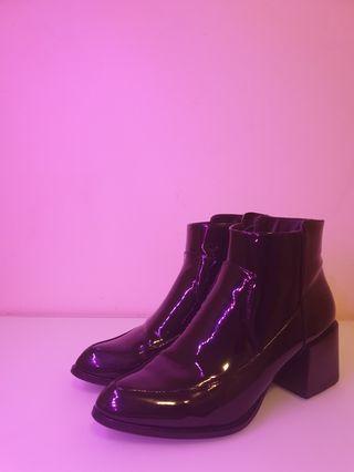 Public Desire Wendy's cubed heel in Black patent