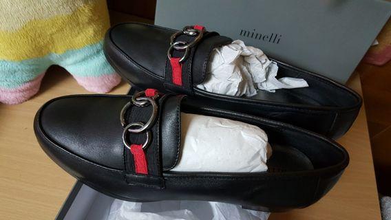 Minnelli 休閒鞋 平底鞋 皮鞋 黑色