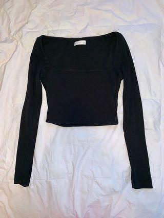 Kookai Long Sleeved Square Neckline Top in Black - Size 1