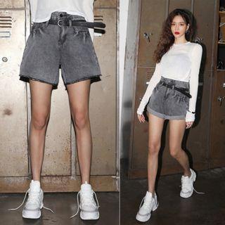 •RR studio• 復古卷邊高腰寬鬆顯瘦牛仔短褲