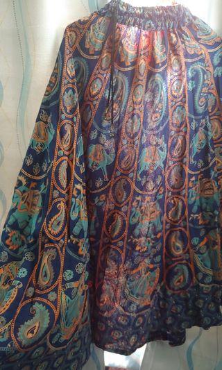 民族藍印花半身裙 (橡筋腰)