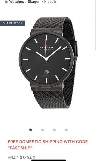 ⌚️SKAGEN Klassik Black Dial Black PVD Mesh Men's Watch 🆕