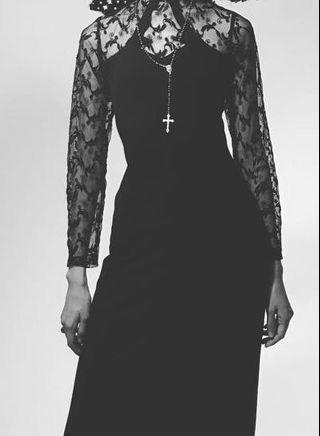 連身裙全黑色Long black lace dress one piece evening gown高貴透視晚禮服high fashion