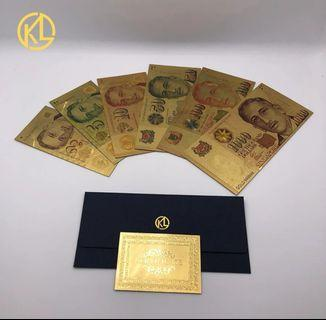 Singapore Dollar gold Banknote 6pcs set