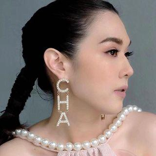 Anting chanel terbaru anting tusuk model tulisan CHANEL PREMIUM QUALITY ready stock