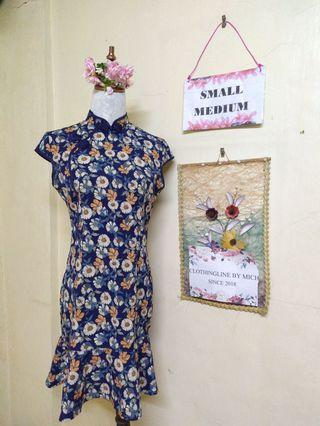 Floral Chinese collared dress