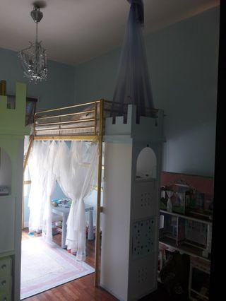 Bed frame and castle shelve