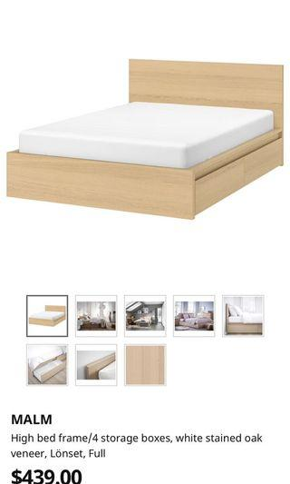 Full malm ikea bed frame with drawers