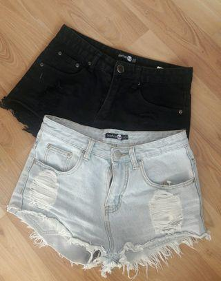 Denim shorts set