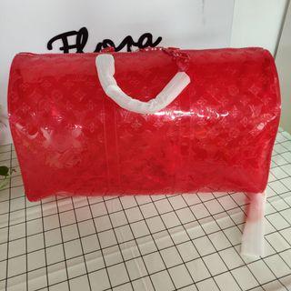 LV KeepAll Red Color Prism Bag 55 Cm