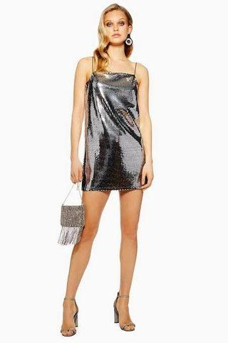 Topshop silver sequin dress