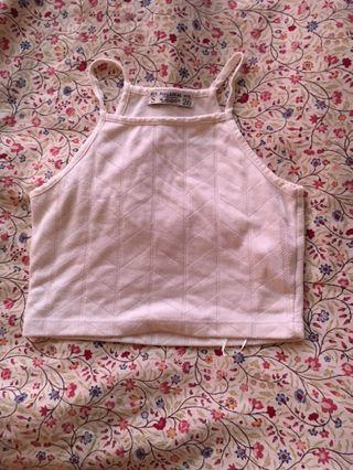 Pull and Bear White halter crop tank