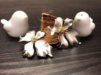 歐風時尚簡約風銀花耳環