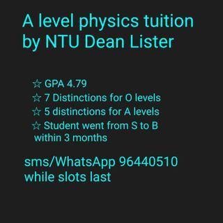 A level physics tuition by NTU Dean Lister