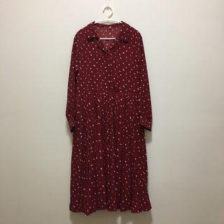 全新現貨💐紅色復古碎花長袖百褶長洋裝 連身裙