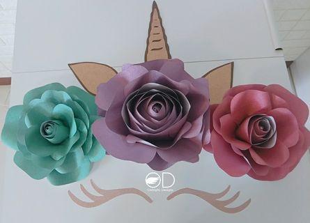 Unicorn Glittery Paper Flower Set