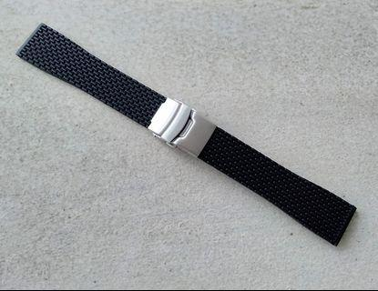 22mm Black Rubber Silicone 'Beads of Rice' Deployant Strap