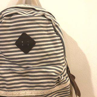 NEW Blue and White Striped Backpack