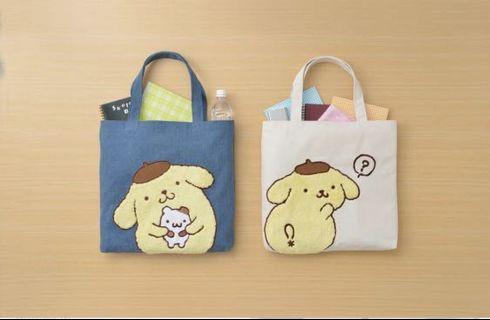 日本正版 Sanrio pompompurin 布甸狗 刺繡 帆布袋 袋