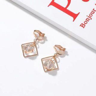 🚚 方塊圓珠造型耳環 耳夾 無耳洞耳環