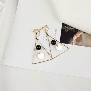 🚚 三角串珠造型垂墜式耳環 耳夾 無耳洞耳環