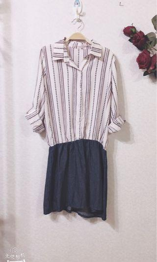 🚚 全新直條紋長袖連衣裙