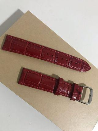 Classic Red Leather Strap 18mm