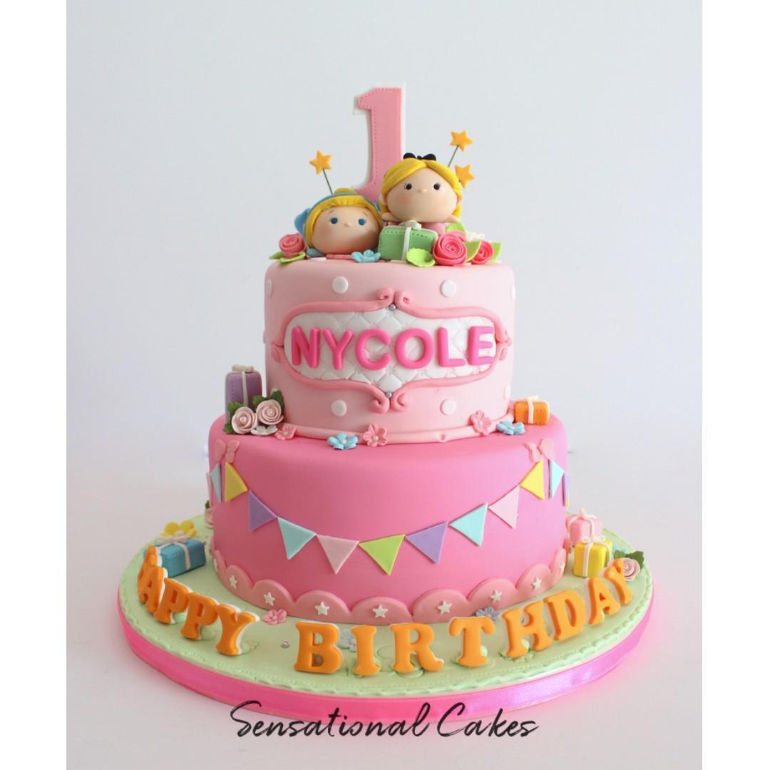 Excellent 1St Pink Princess Children Girl Customized Birthday Cake Funny Birthday Cards Online Benoljebrpdamsfinfo