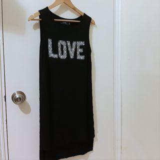 Black cotton sporty dress