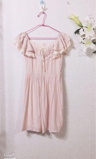 🚚 全新粉紅色四方領雪紡連衣裙