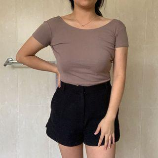 Taupe/Brown Open Back Ribbed Crop Top