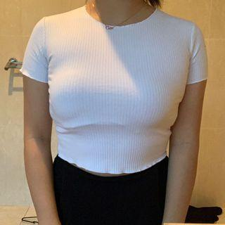 White Lettuce Ribbed Crop Top