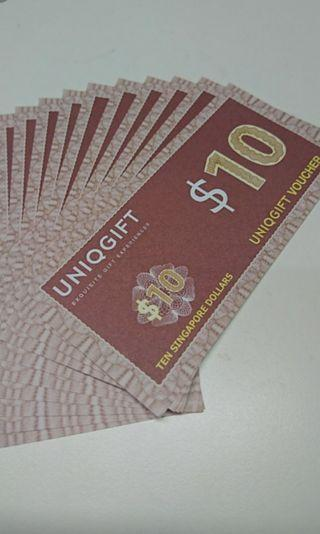 🚚 10 x $10 UNIQGIFT Vouchers
