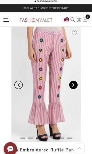 Sara embroidered ruffle pant