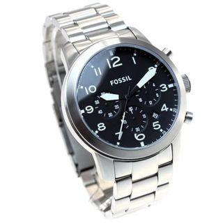 FOSSIL名牌男士手錶Pilot 54 Black Dial Men's Stainless Steel Chronograph Watch FS5141