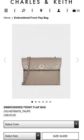 BN Charles and Keith embroided front flap sling crossbody bag in beige